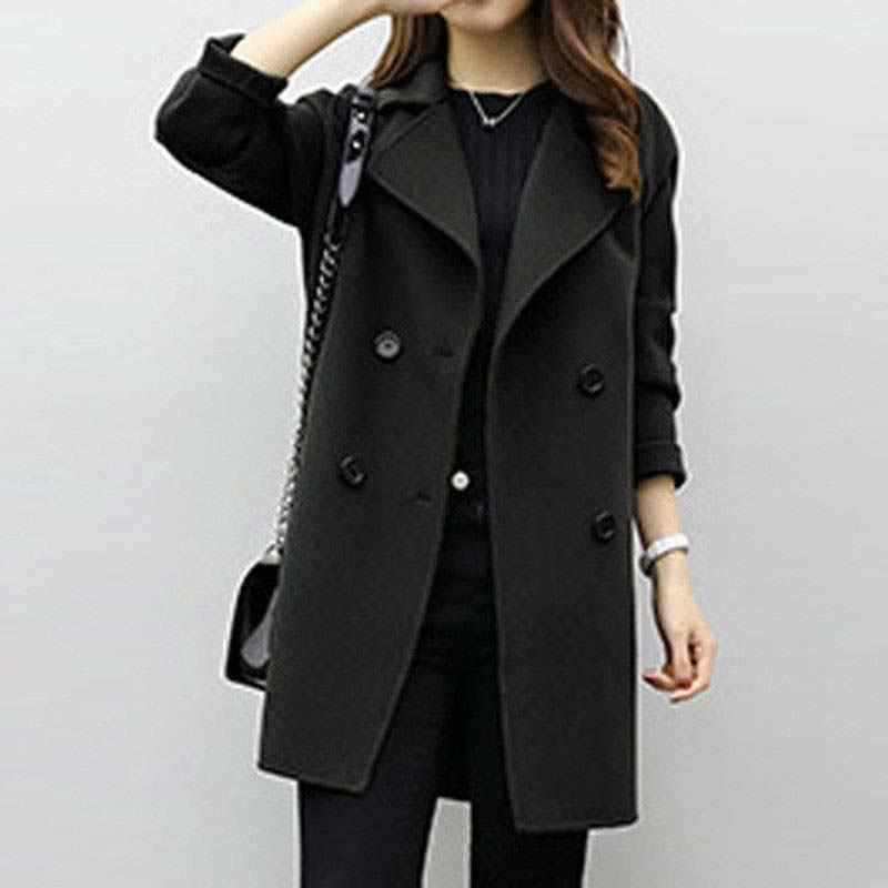 Autumn Winter Women Casual Coats Turn-down Collar Warm Woolen Long Sleeve Slim Outwear Lapel Cardigan Jacket AIC88