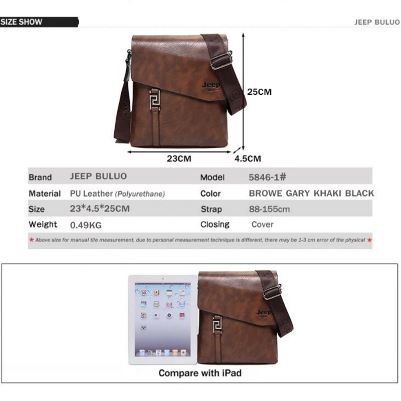 Image 2 - JEEP BULUO Fashion Men Bags Waterproof Cow Split Leather Messenger Bag Business Briefcase Crossbody Bags Male Shoulder Bag 5846