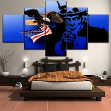 5 Panel 4th Of July Independence Day Picture American Flag Eagle And Uncle Sam Poster Modern Wall Art Home Decor Canvas Painting