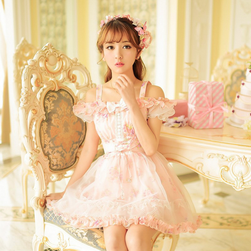Princess sweet lolita dress Candy rain summer new Japanese style cute bow lace chiffon floral short