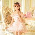 Princess sweet lolita dress Candy rain summer new Japanese style cute bow lace chiffon floral short sleeves dress C16AB6031