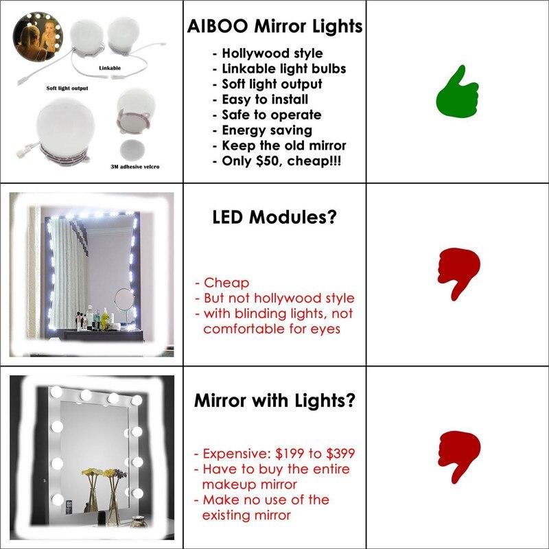 Lâmpadas de Parede kit de maquiagem espelho espelho Direção da Sombra : Acima & Abaixo