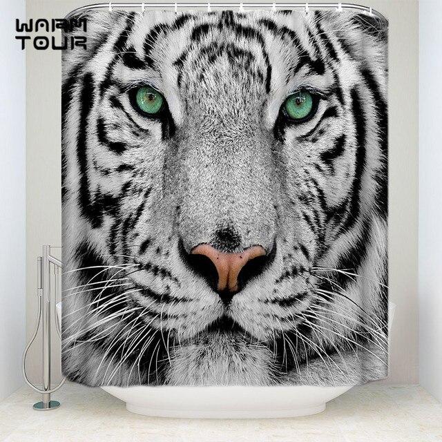 Extra Lange Stof Bad Douche Gordijnen White Tiger Gezicht Meeldauw
