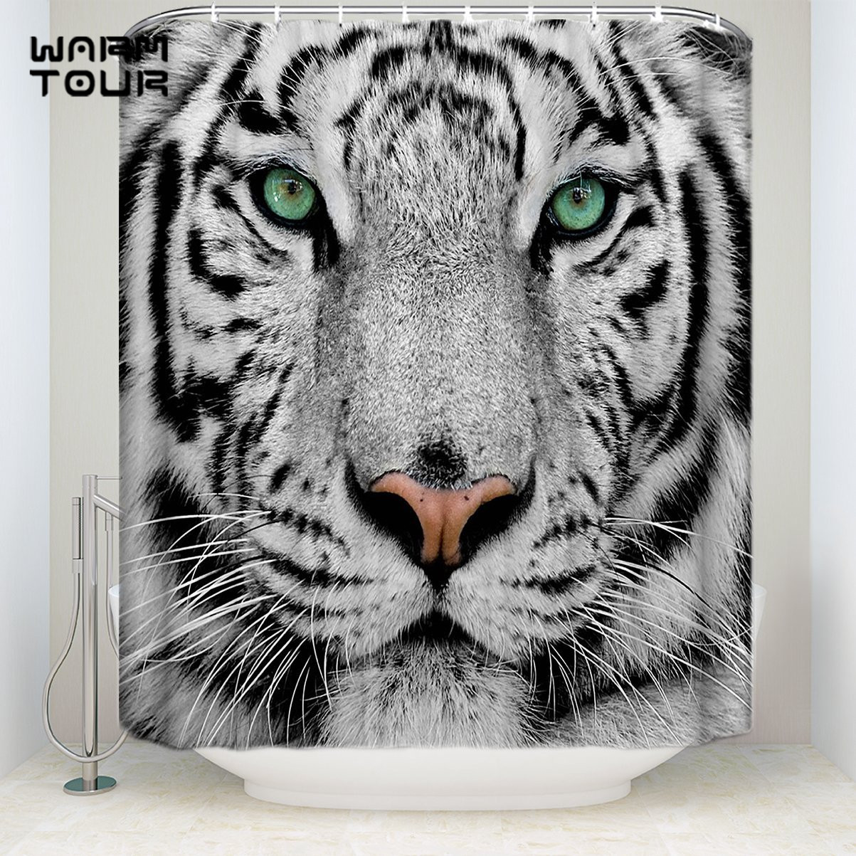 Extra Long Fabric Bath Shower Curtains White Tiger Face