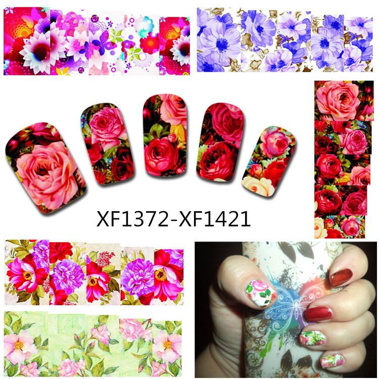 50Sheets Nail Art Flower Water Tranfer Sticker Nails Beauty Wraps Foil Polish Decals Temporary Tattoos Watermark XF1372-1421 fwc hot diy designs nail art beauty flower water stickers nails decoration decals tools