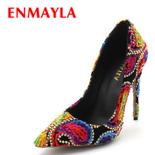 ENMAYLA Multicolor High Heels Embroidered Shoes Woman Pointed Tope Thin Pumps Women Fashion Floral Designer Party