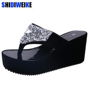 c57e0f3b11188 Summer Flip Flops Platform Shoes Woman Beach Slippers