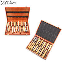 Kiwarm Practical 12 Pcs Leather Wood Carving Hand Chisel Tool Set Woodworking Professional Gouges For Home