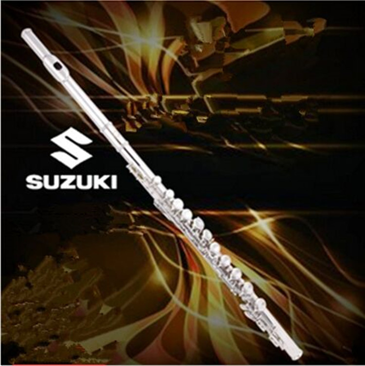 NEW Suzuki Hot Flute musical instrument Flute16 Clated over C Tune E Key Flute Silver Plated music professional Free shipping