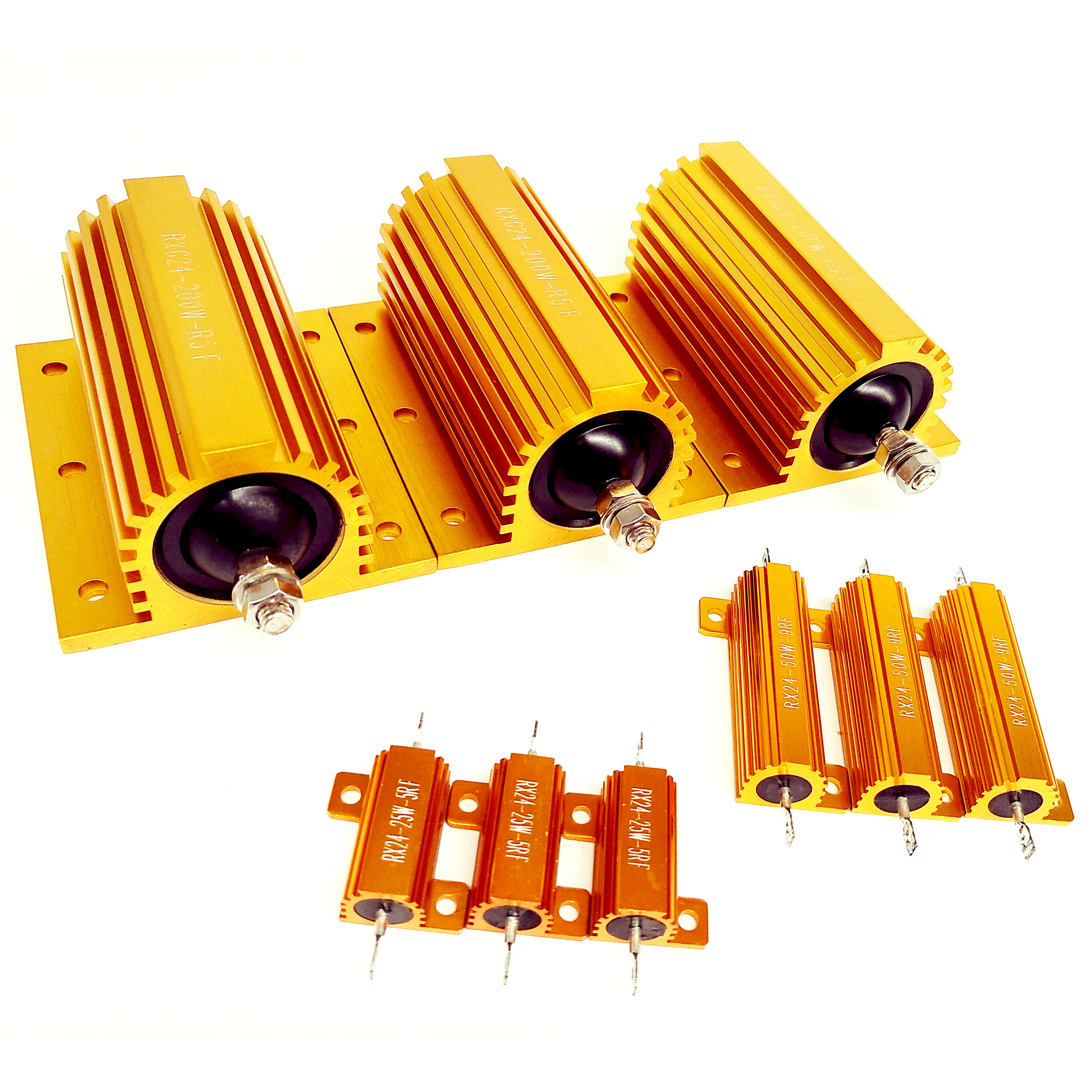 2Pcs RX24 50W Watt Wirewound Resistor 1R 2R 3R 4R 5R 6R 8R 10R 15R 20R 30R 40R 50R 100R 1K Ohm LED Load Resistor Aluminum Case