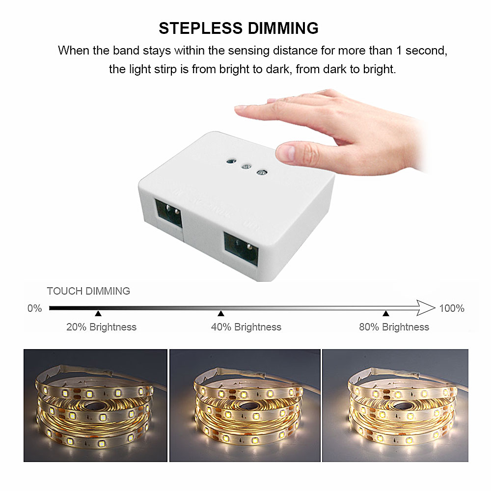 5M LED Light Strip 2835 Waterproof Flexible Neon Light Sensor Hand Wave Activated Dimmable Diode Ribbon LED Tape 12V Adapter Set (2)