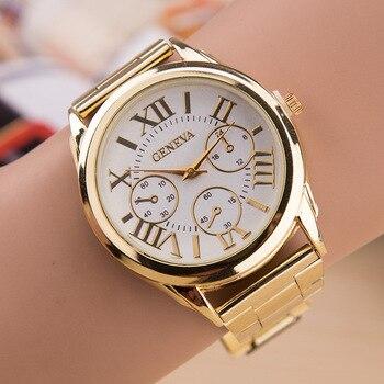 цена 2020 New Brand 3 Eyes Gold Geneva Casual Quartz Watch Women Stainless Steel Dress Watches Relogio Feminino Ladies Clock Hot Sale онлайн в 2017 году
