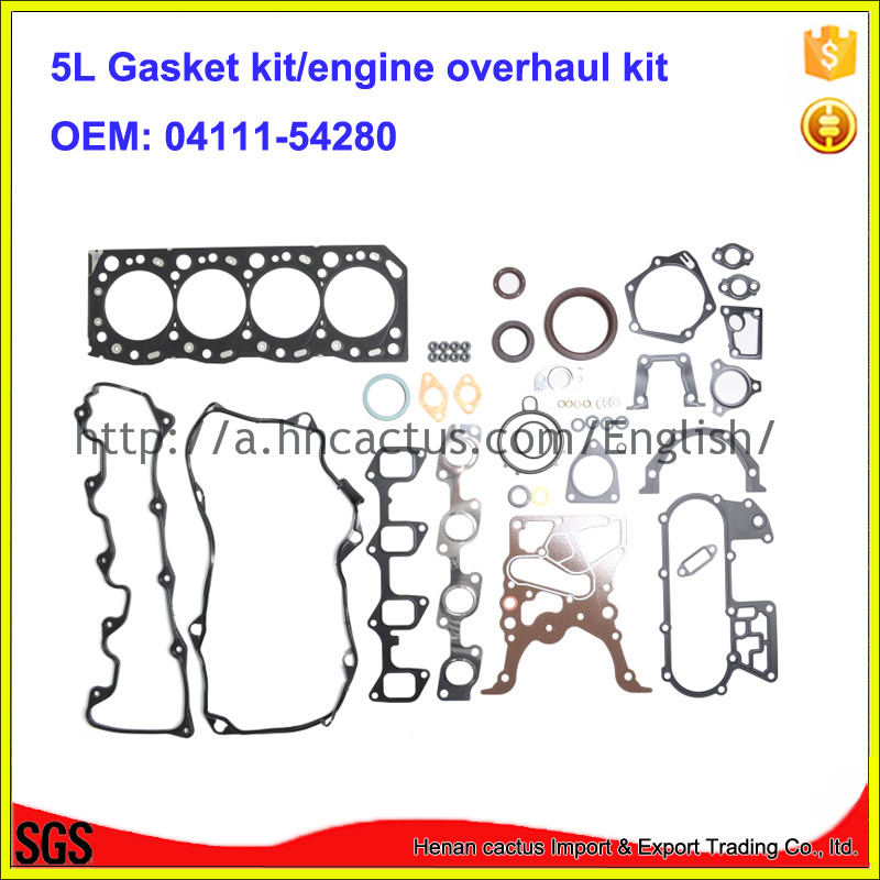 <font><b>Engine</b></font> rebuilding kits <font><b>5L</b></font> <font><b>engine</b></font> gasket kit set overhaul kit 04111-54280 for <font><b>Toyota</b></font> Hilux Hiace 3.0D image