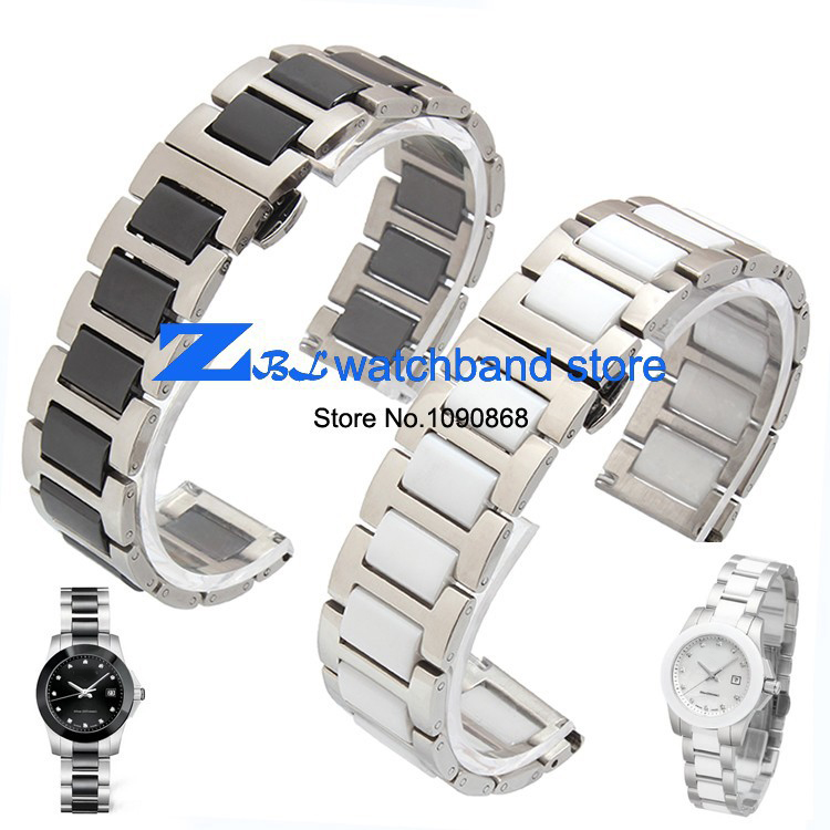 16mm 18mm 20mm ceramic Bracelet and stainless steel watchband white or black watch band watch strap Butterfly Buckle wristband 16mm ceramic