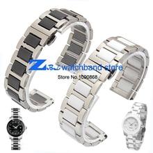 16mm 18mm 20mm Pulsera de cerámica y de acero inoxidable correa de reloj de correa de reloj de color blanco o negro Mariposa hebilla de pulsera