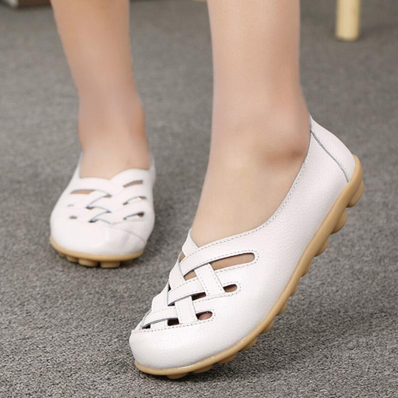 Summer Genuine   Leather   Shoes Women Ballet Flats Slip On Moccasin Femme Cross Tied Ladies Shoes Comfy Ballerina Zapatos Mujer