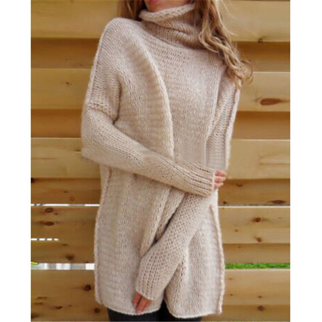 Women Turtleneck Sweater Knitted Plus Size  Mohair Long Sleeve Pullover Women Winter Warm Casual Wide Clothes EBA127