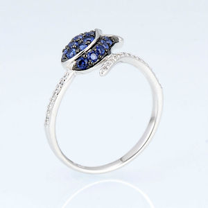 Image 4 - SANTUZZA Silver Ring For Women 925 Sterling Silver Full Of Love tulip Flower Ring Blue Nano Cubic Zirconia Ring Fashion Jewelry