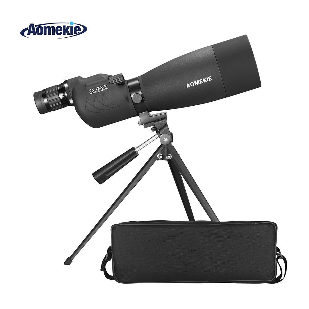 AOMEKIE 70mm Lens Spotting Scope 25-75X Zoom with Tripod for Bird Watching Hunting High Power Monocular Telescope BAK4 PrismAOMEKIE 70mm Lens Spotting Scope 25-75X Zoom with Tripod for Bird Watching Hunting High Power Monocular Telescope BAK4 Prism