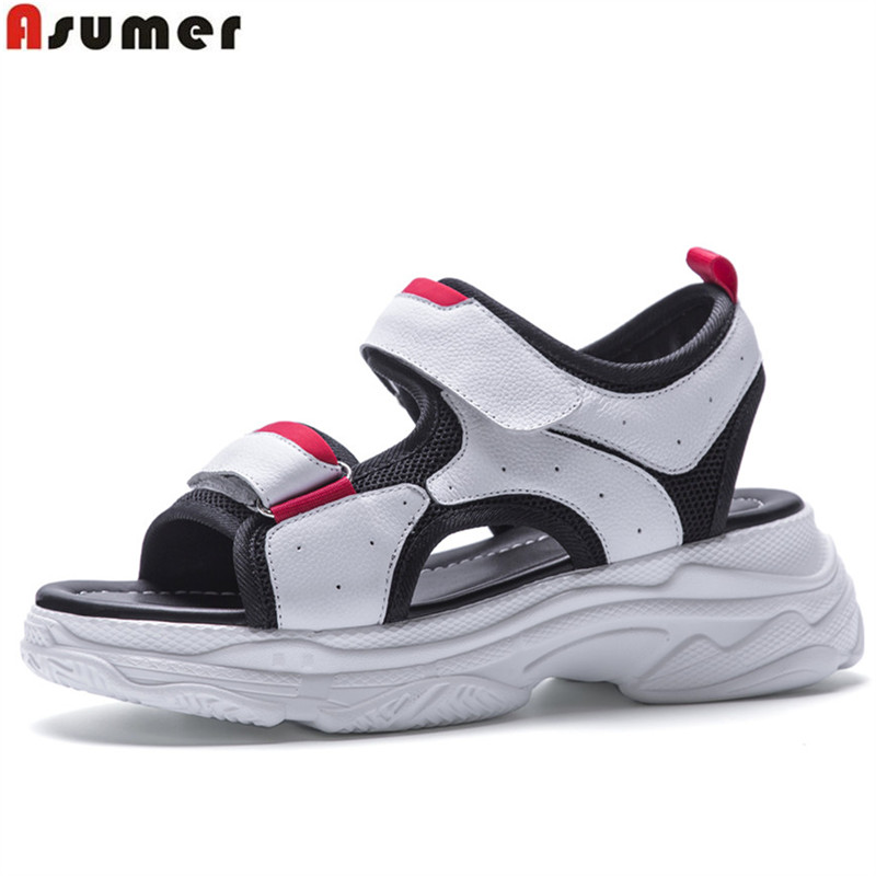 ASUMER black white fashion summer new shoes woman flat platform casual sandals women genuine leather shoes big size 35-42 women creepers shoes 2015 summer breathable white gauze hollow platform shoes women fashion sandals x525 50