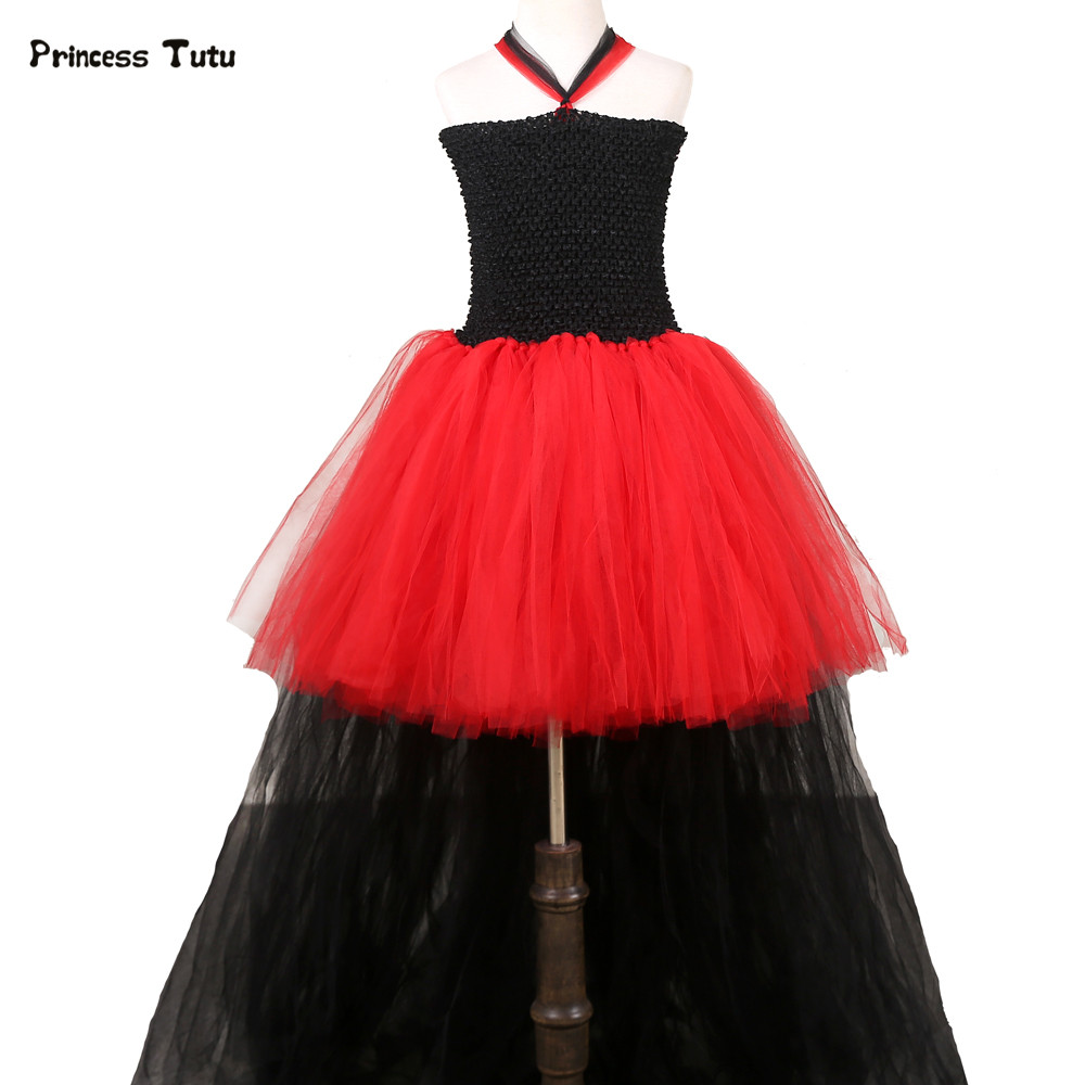 Train Tail Tutu Dress Girl Red&Black Tulle Girl Dresses Cosplay Rockstar Queen Halloween Costume For Kids Evening Party Dresses fancy girl mermai ariel dress pink princess tutu dress baby girl birthday party tulle dresses kids cosplay halloween costume