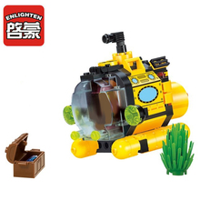 Enlighten 1213 Pirate Series Building Blocks Treasure Hunt Small Submarine Building Blocks Toys For Children pirate series imperial warship building blocks education 1717pcs construction toys gifts for children compatible lepin 22001