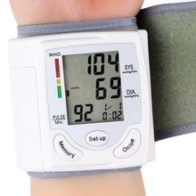 Promotion LCD Digital Finger Pulse Oximeter Automatic Home Wrist Cuff  Blood Pressure Pulse Monitor