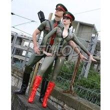 Латексный Косплей армейский женский униформы резиновый военный костюм обтягивающий полицейский сексуальные костюмы кошек на заказ