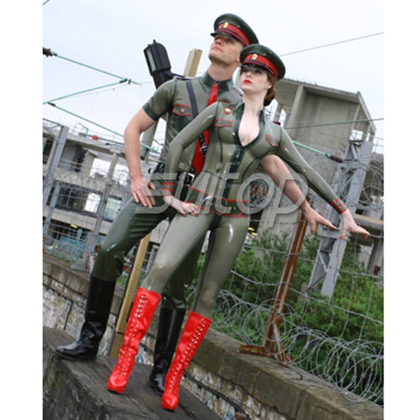 Latex Cosplay Army Women's Uniforms Rubber Military Body Suit Skinny Police Sexy Catsuits Custom