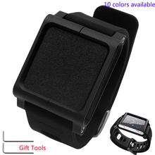 Smart Watchband For LunaTik For iPod nano6 Quality Soft Silicone Watch band Mens Black Rubber Strap With Frame