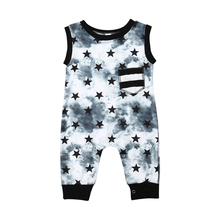 Cotton Baby Romper Newborn Baby Boy Stars Print Romper Jumpsuit Playsuit Outfit Stars Pattern Clothes Casual Sleeveless Clothing свитшот print bar stars