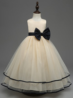 Black Bow Beige Party Pageant Wedding Dress Birthday Party Princess Dresses Costume Children Baby Girls Evening