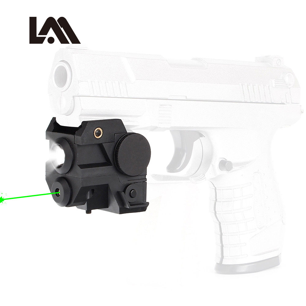 Hunting compact Tactical Green Laser Sight + Flashlight Combo Low Profile Pistol Handgun Light with 20mm Picatinny Rail hunting compact tactical green laser sight flashlight combo low profile pistol handgun light with 20mm picatinny rail
