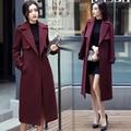 Mujeres Abrigo Largo 2016 Otoño Invierno Ropa Nueva de Corea Edición Overwear Abrigo de Paño de lana Del Cabo Abrigos Con Cinturón de Bolsillo Delgado Top