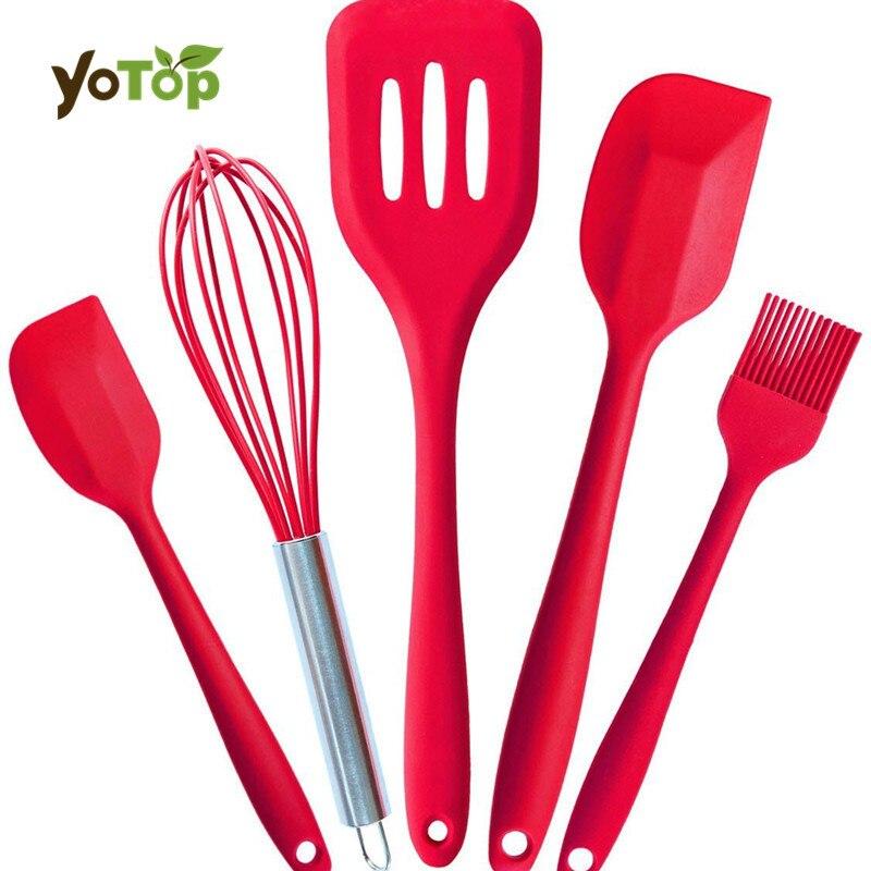 YOTOP 5ks / Set silikonové nástroje pro vaření Non-stick tepelně odolné nádobí pro vaření sada kuchyňských nástrojů Whisk Egg nástroje pro pečení