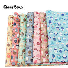 45*150CM Cute Owl Printed Fabrics Cartoon Print Quilting Fabrics For Clothing Kids Dolls Decoration Textile Sewing Patchwork(China)
