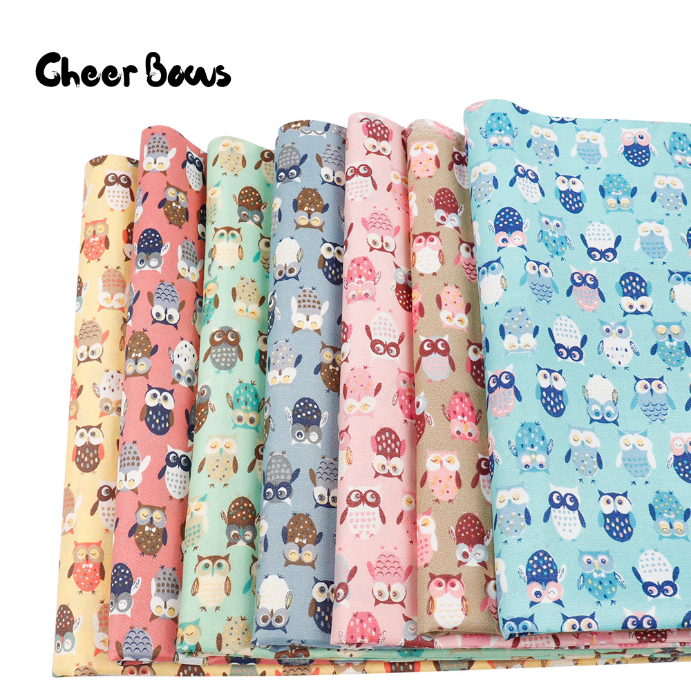 45*150CM Cute Owl Printed Fabrics Cartoon Print Quilting Fabrics For Clothing Kids Dolls Decoration Textile Sewing Patchwork