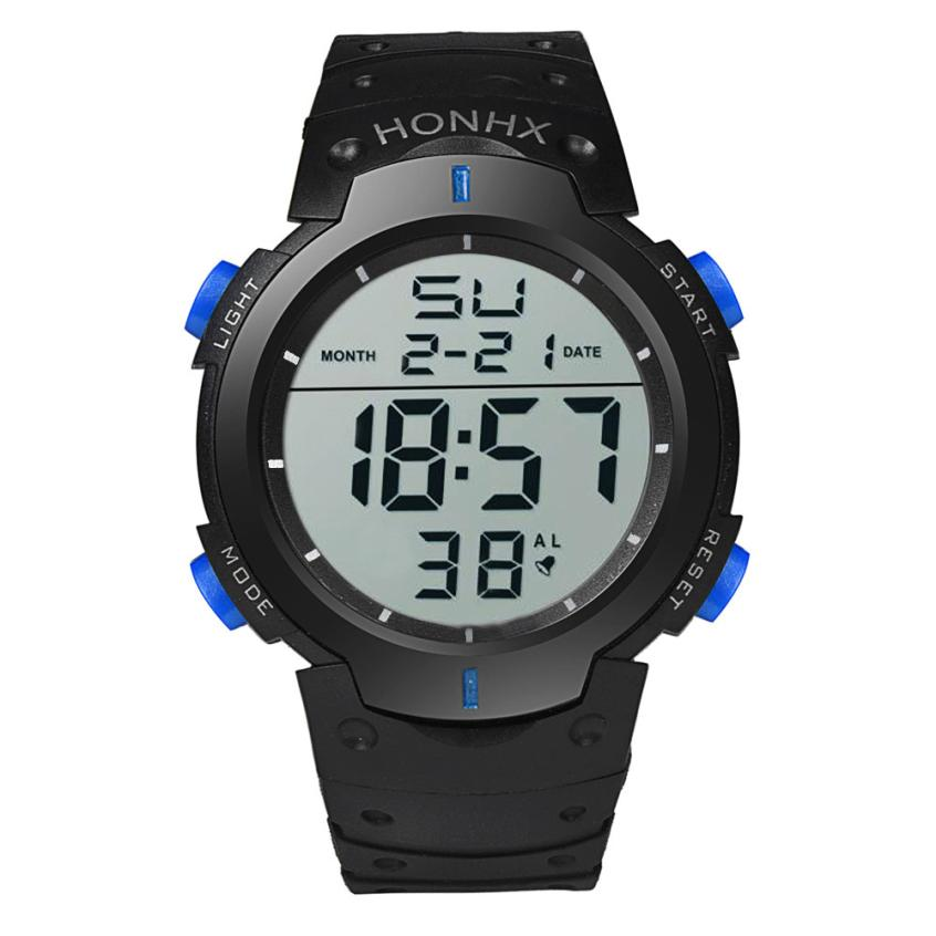 HF 2018Fashion Waterproof Men's Boy LCD Digital Stopwatch Date Rubber Sport Wrist Watch Levert Dropshipa Box F825 3