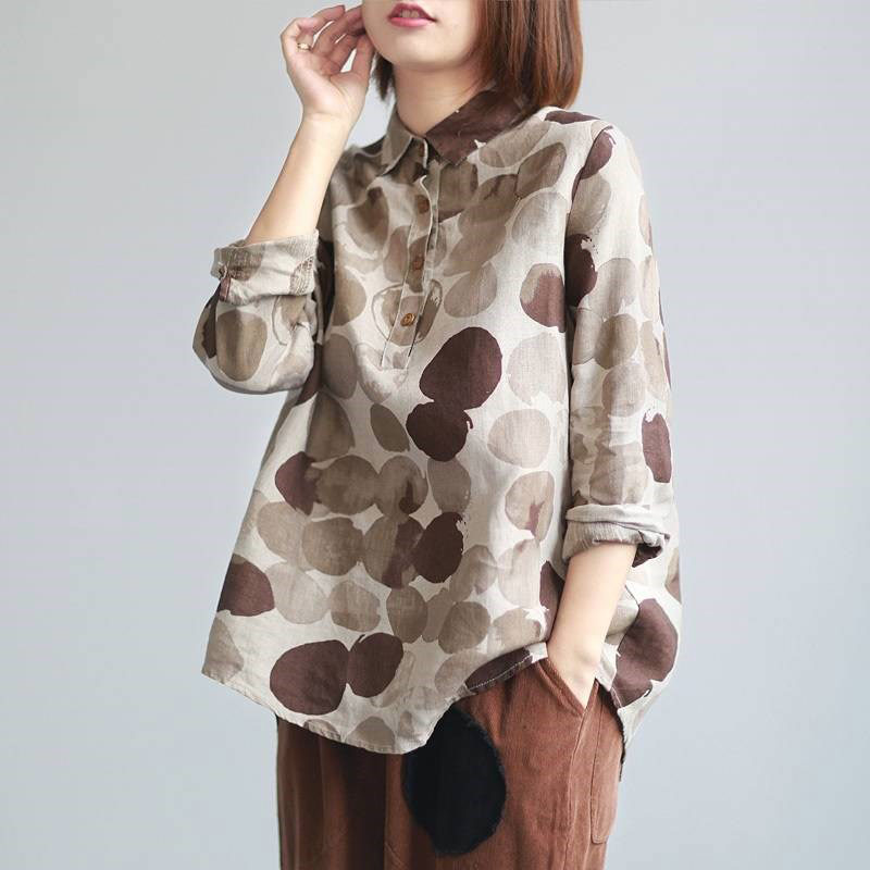 F&JE New Spring Women Shirts Plus Size Long Sleeve Cotton Linen Button Casual Shirts Vintage Polka Dot Print Vintage Blouses P11