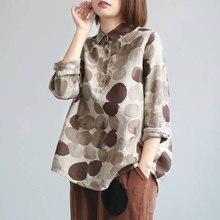 F & JE yeni bahar kadın gömlek artı boyutu uzun kollu pamuk keten düğme rahat gömlek Vintage Polka Dot baskı vintage bluzlar P11