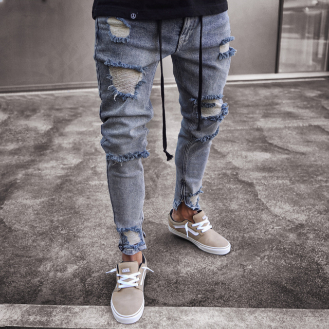 Slim Fit Frayed Hole Ripped Denim Jeans Pants for Men