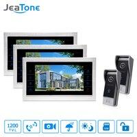 JeaTone 10 HD Wired Video DoorPhone Intercom Kit 3 Silver Monitor Doorbell With 2 IR