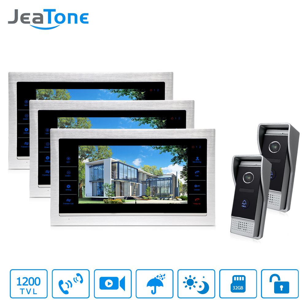 """JeaTone 10"""" HD Wired Video DoorPhone intercom Kit 3 Silver Monitor Doorbell With 2 IR Night Vision 2.8MM Lens Outdoor Cameras"""