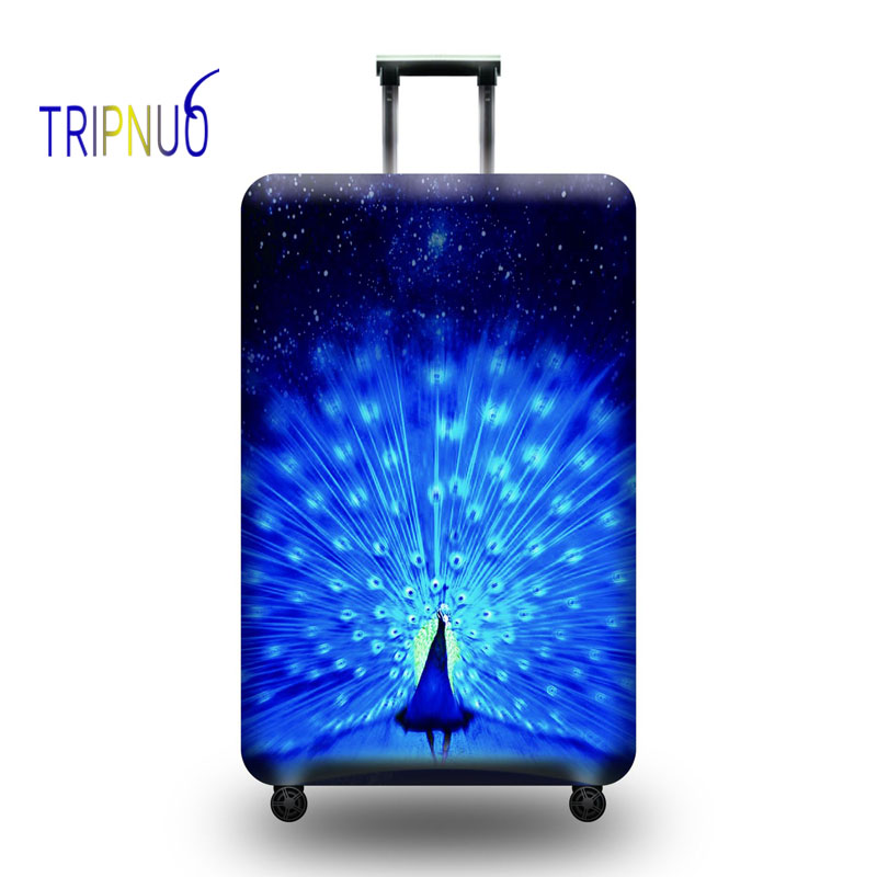 TRIPNUO Peacock Opening Luggage Cover Travel Accessories 18-32 Inch Travel Trolley Dustproof Suitcase Protective Cover Elastic