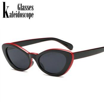 Women Small Oval Sunglasses Cat Eye Retro Glasses Black Red Yellow Sun glasses for Women Vintage Sunglass Summer Style UV400