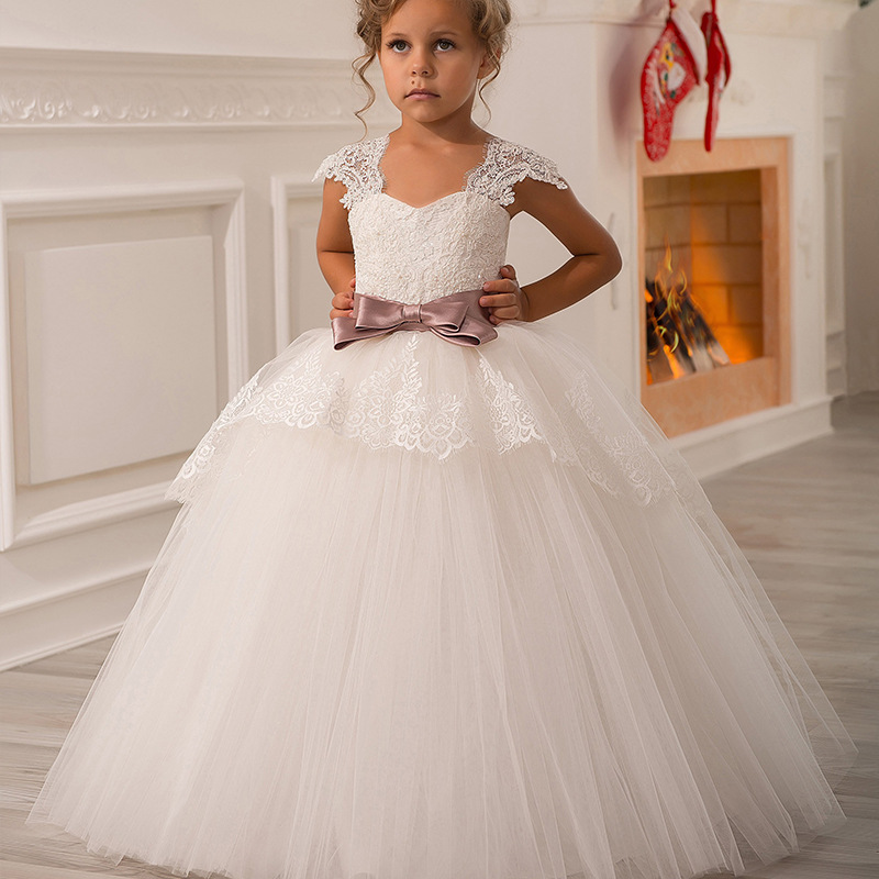 Elegant Exquisite Cap Sleeves Bowknot Sweet Heart Flower Girls Ceremony Dresses Kids Communion Evening Pageant Prom
