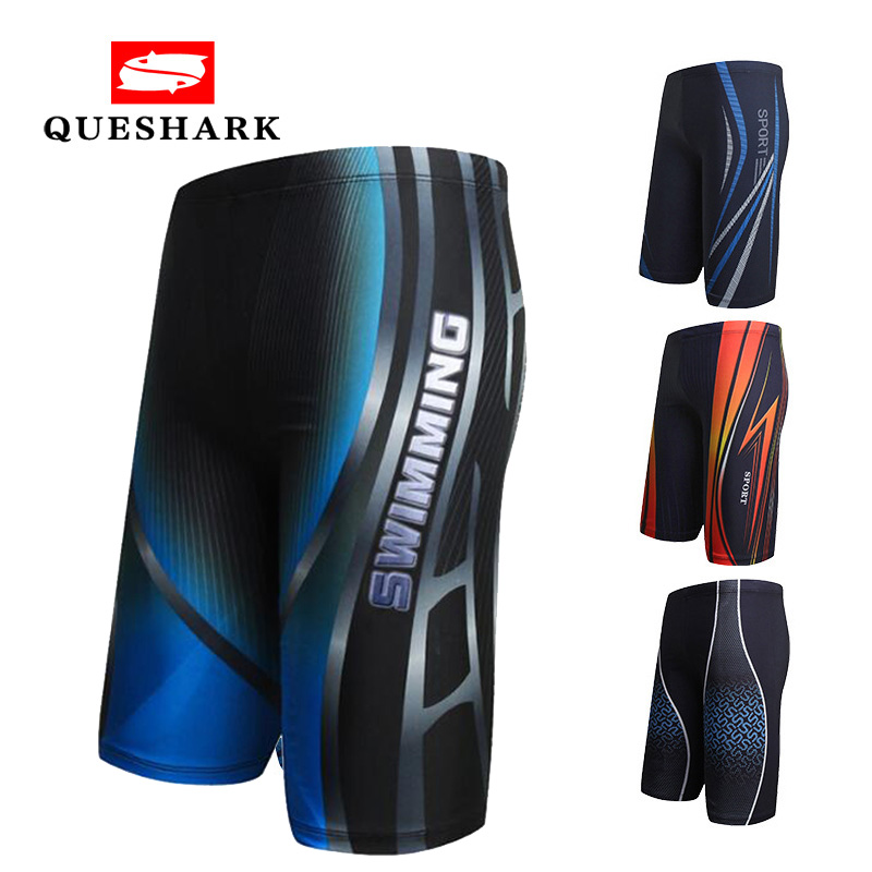 Swim Briefs Shorts Surfing-Board Sexy Printed Beach Long Men Quick-Dry