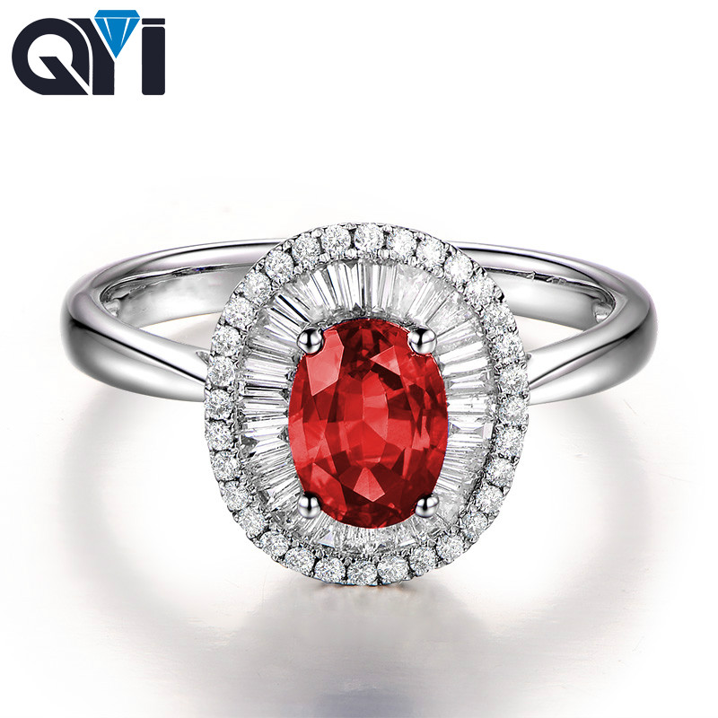 QYI Red Sona Stone Engagement Double Halo Rings 1.25 ct Oval Cut Simulated Ruby 925 Sterling Silver Wedding Rings For Women