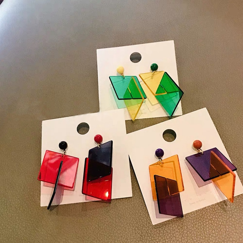 MENGJIQIAO 2019 New Exaggerate Colorful Acrylic Square Drop Earrings For Women Bijoux  Geometric Holiday Pendientes Mujer Moda