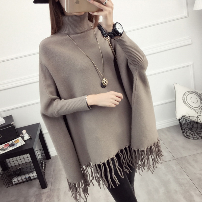 Maternity Clothes Sweater Women Loose Large Size Tassel Bat Shirt High Collar Shawl Thickening Autumn Winter Pregnancy Clothing кольца